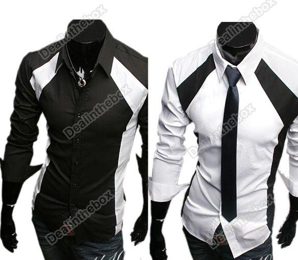 New Top Design Mens Casual Luxury Stylish Slim Long Sleeve T Shirts