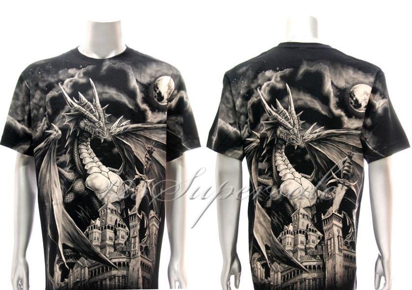 XXXL Rock Eagle T shirt Special Tattoo Skull Castle King Dragon Retro