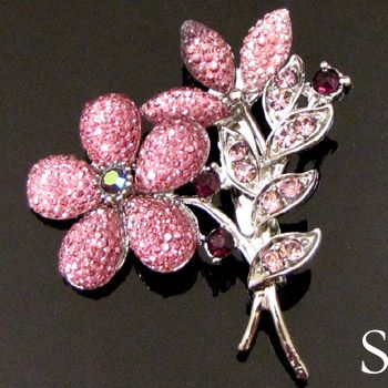 ADDL Item  1pc Austrian rhinestone crystal flower brooch