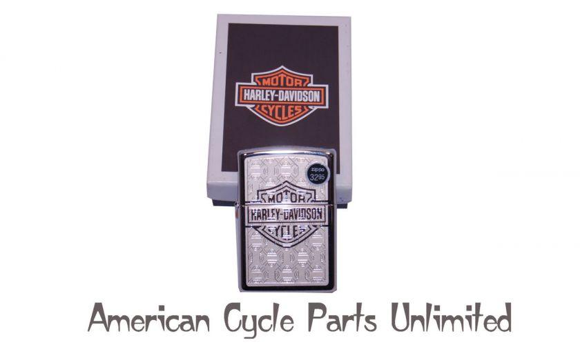 Chrome Zippo Lighter Gold Harley Davidson Logo Etched
