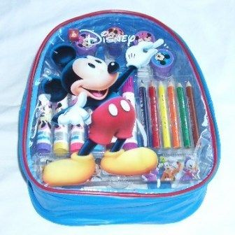 Disney Mickey Mouse Backpack with Stationery Art Set )